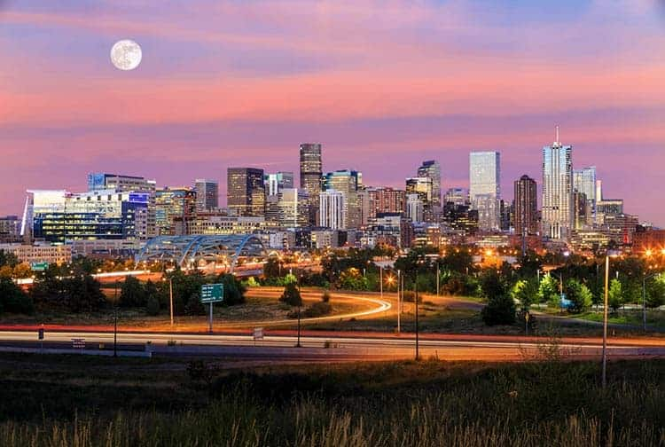 denver sky line at sunset