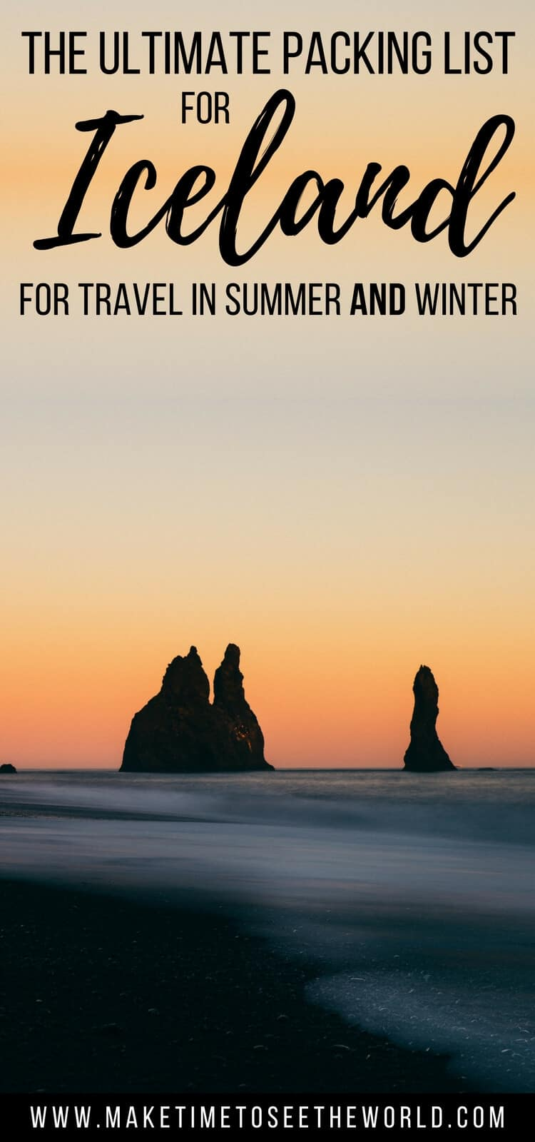 Pin Image for What to Pack for Iceland with the black salat rocks in the ocean with text overlay