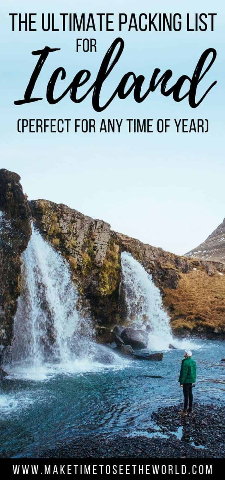 Pin for What to Pack for Iceland -Waterfall with a person standing at it's base wearing a green jacket
