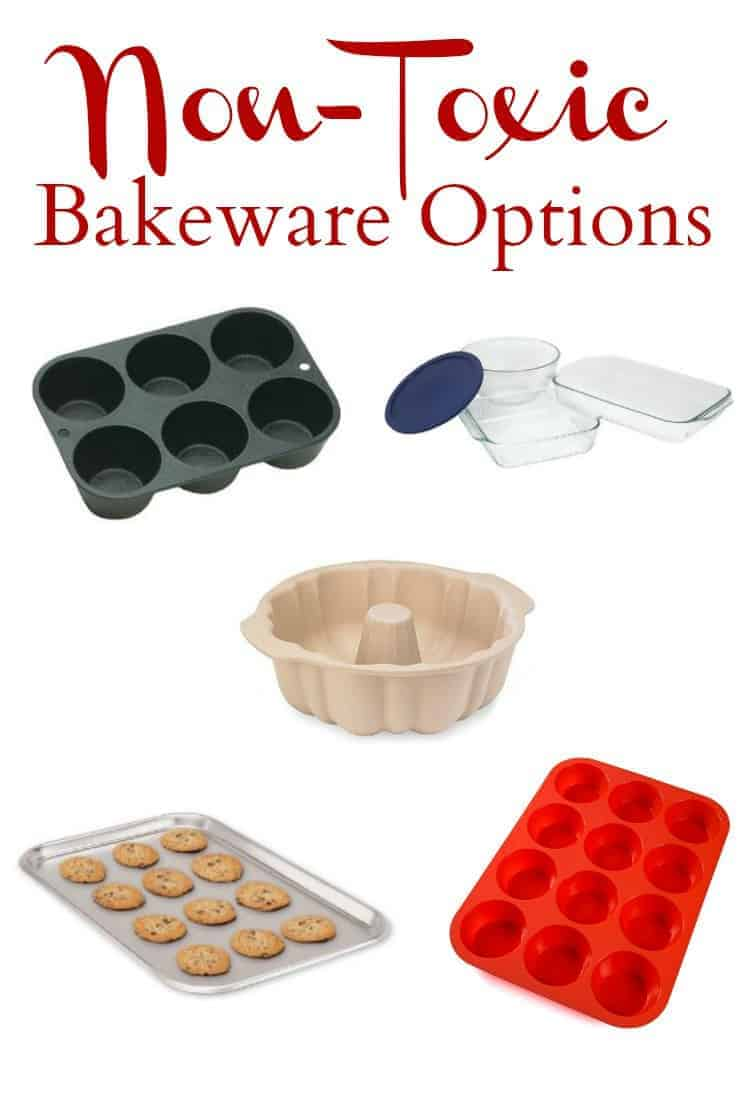 No need to worry about toxic chemicals leaching from your bakeware with these Non-Toxic Bakeware Options. #nontoxic #bakeware #naturalliving #stoneware #castiron #stainlesssteel