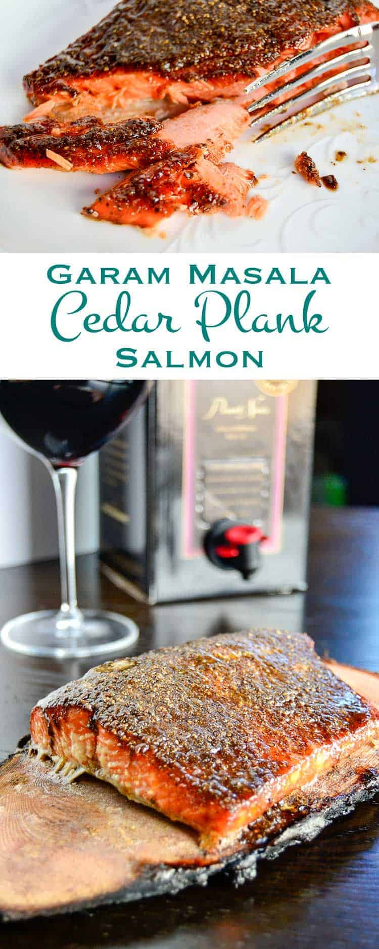 Crusted with brown sugar and spices then grilled on a wine soaked cedar plank, this garam masala cedar plank salmon is smoky sweet and sure to please.