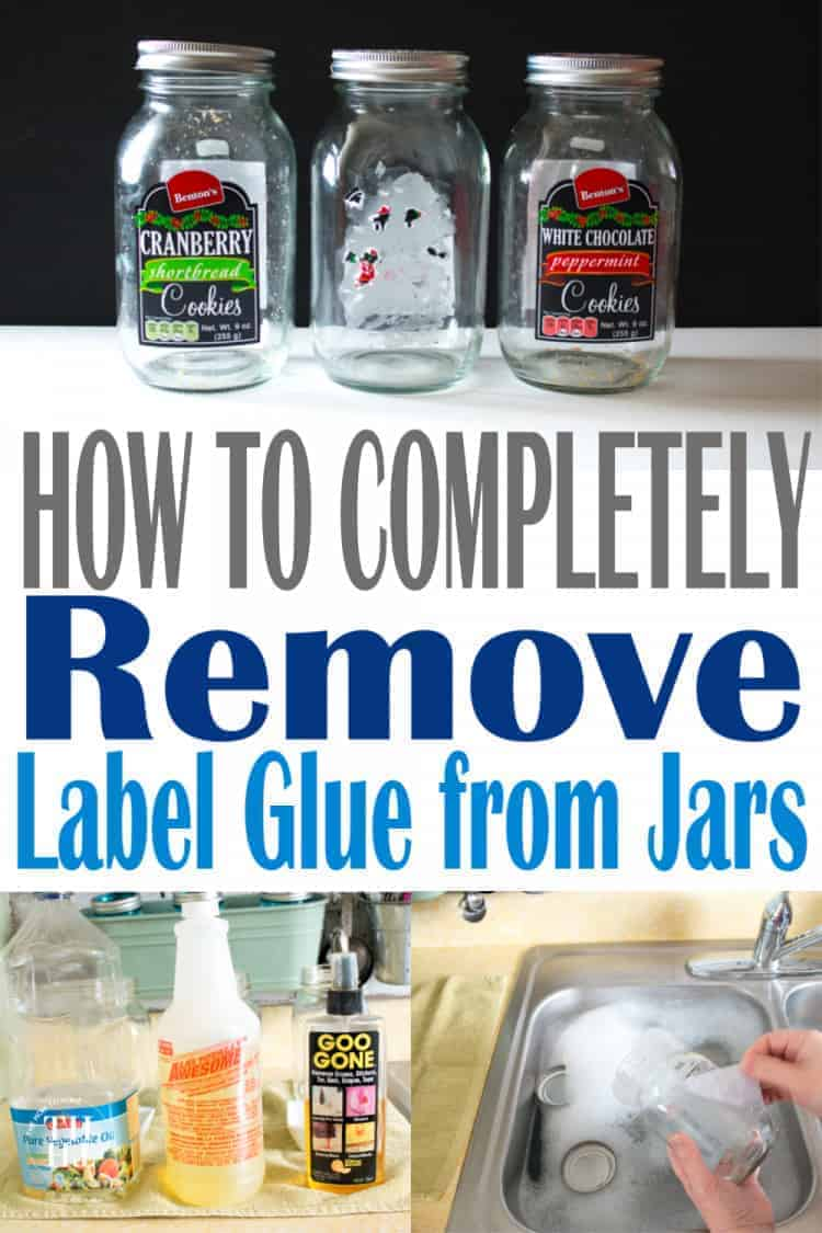 collage of glass jars and how to remove label glue from jars