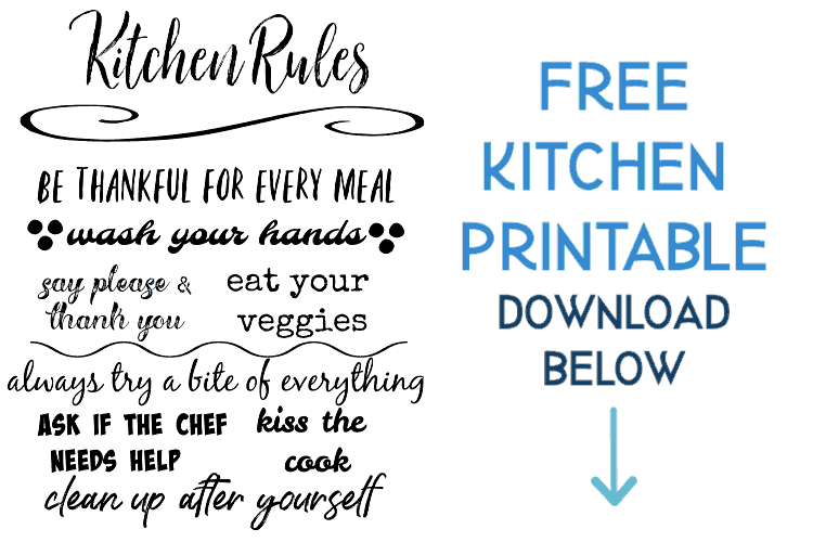 free kitchen printable