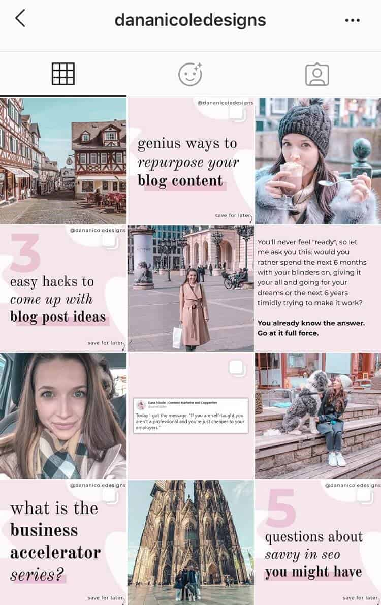 A screenshot of an Instagram feed with quotes and photos