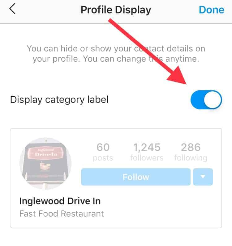 Screenshot of Instagram to turn off category