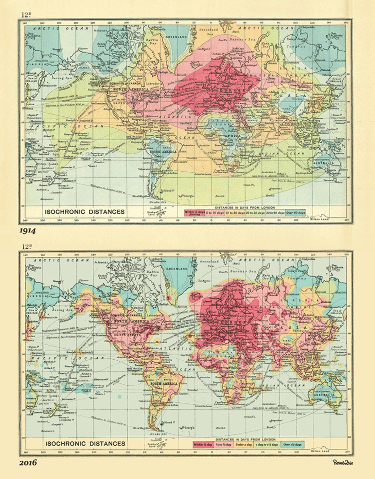 Top map: John G. Bartholomew's 1914 Isochronic Map. Bottom map: Rome2rio's 2016 Isochronic Map.