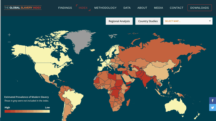 Interactive map of human slavery data from the Global slavery index.