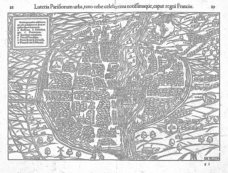 Access the PDF of this coloring map of Paris from 1550 by click the map.