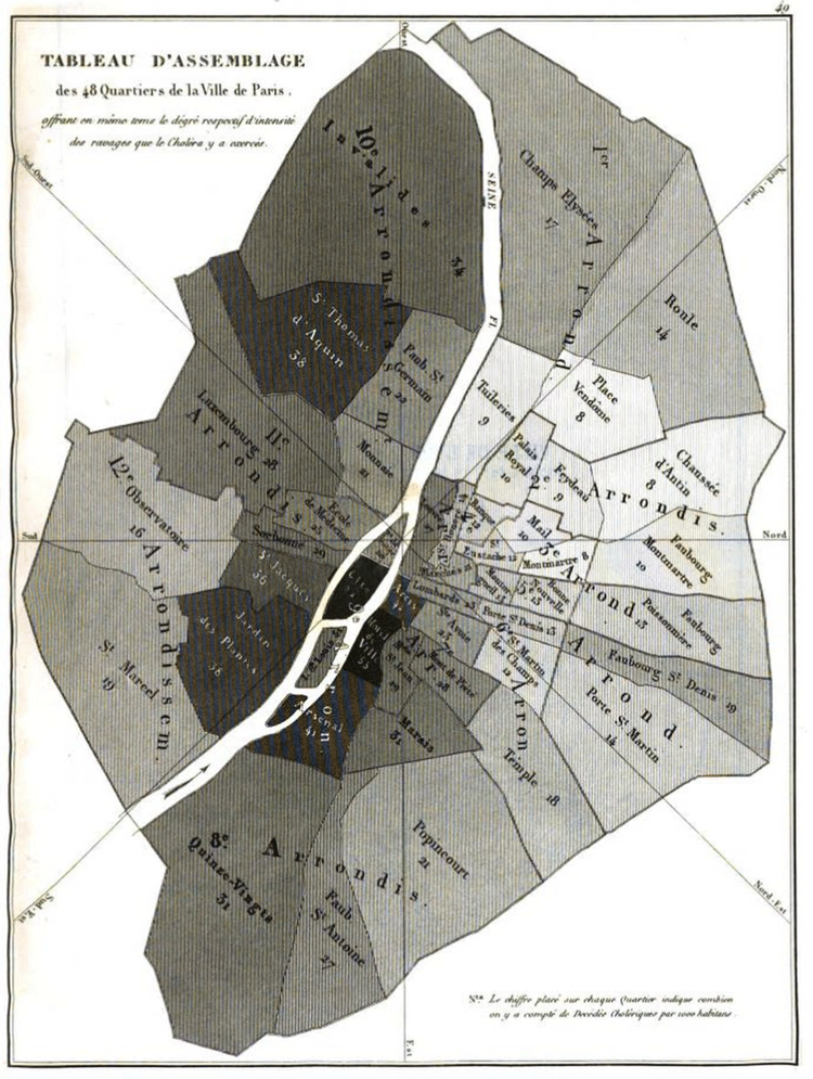 1832 shaded map showing cholera deaths per thousand inhabitants for each of the 48 districts in Paris by Charles Picquet.