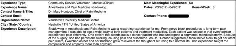 An example of an AMCAS shadowing experience
