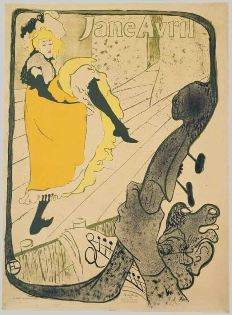 Henri de Toulouse-Lautrec, Jane Avril.  Art Nouveau