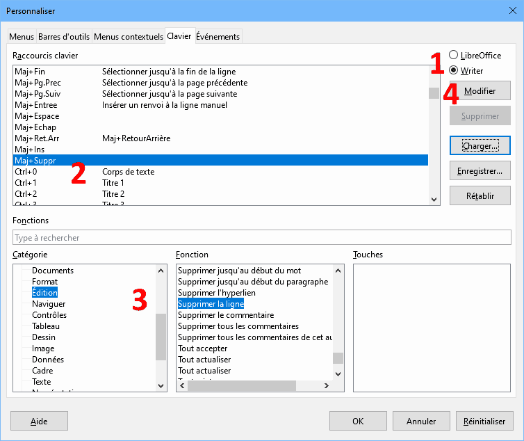 Créer un raccourci clavier dans LibreOffice Writer