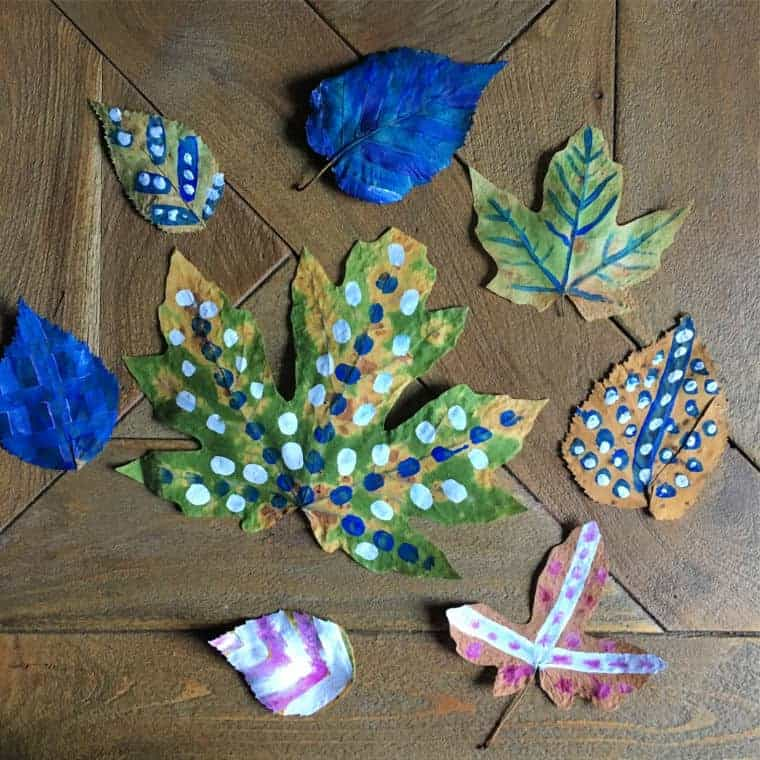 dried leaf art painted leaves