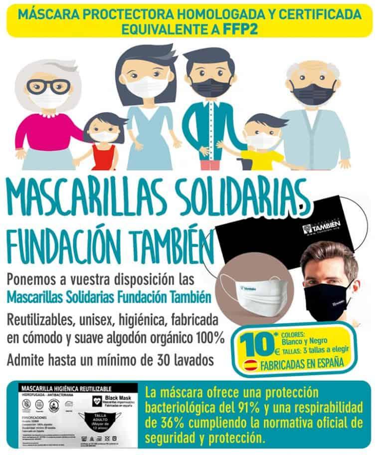 Especificaciones de las mascarillas solidarias FFP2 de la Fundación También