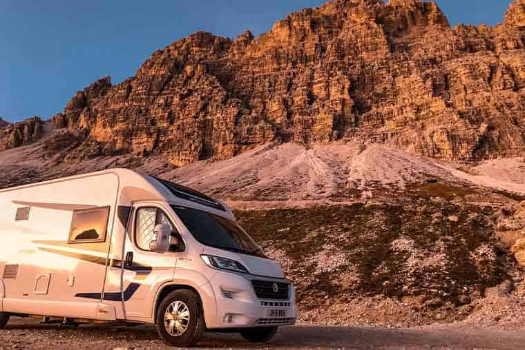 Motorhome parking at the top of Tre Cime, in Dolomites. Overnight parking included in entrance fee.