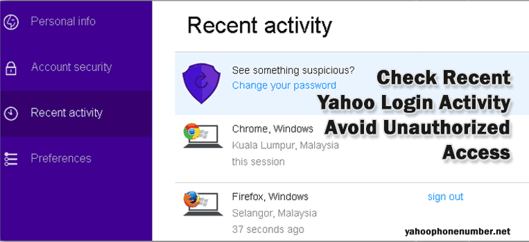 Check Recent Yahoo Login Activity- Avoid Unauthorized Access