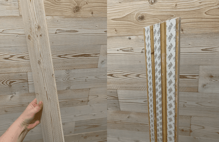 side view of the faux shiplap wood planks
