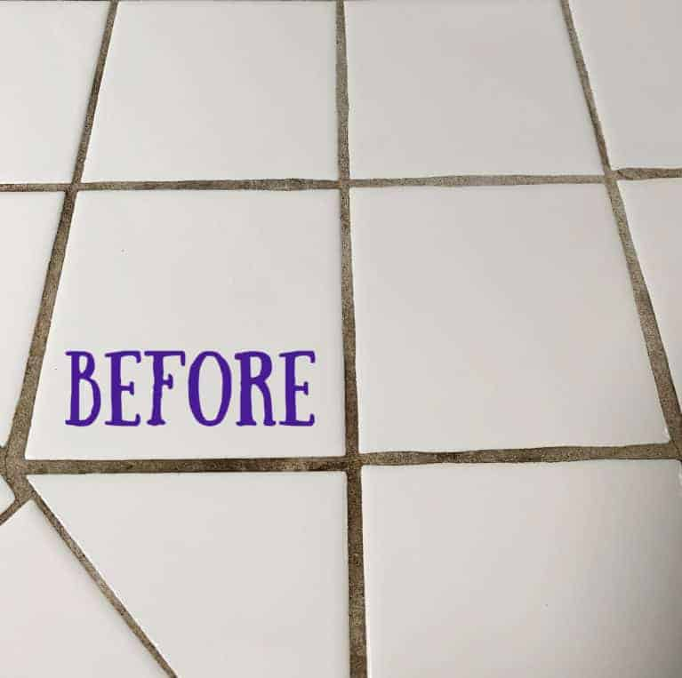 before picture of dirty grout before homemade cleaners were applied.