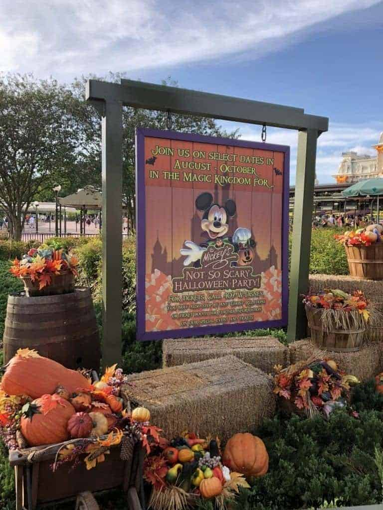 Mickey's Not So Scary Halloween Party sign