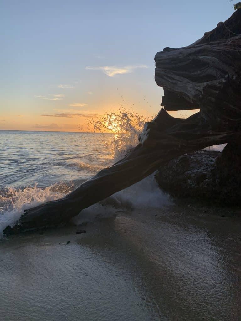 Sunset at a secret beach near Kahana.