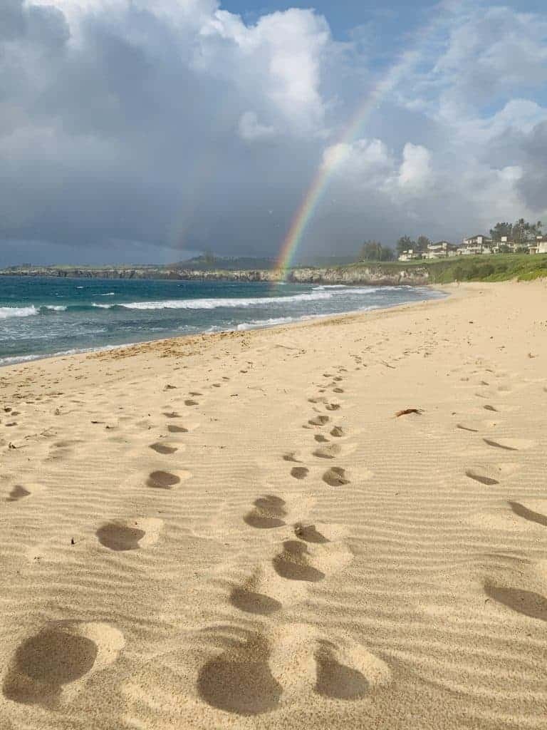 Late afternoon double rainbow at Ironwoods Beach.