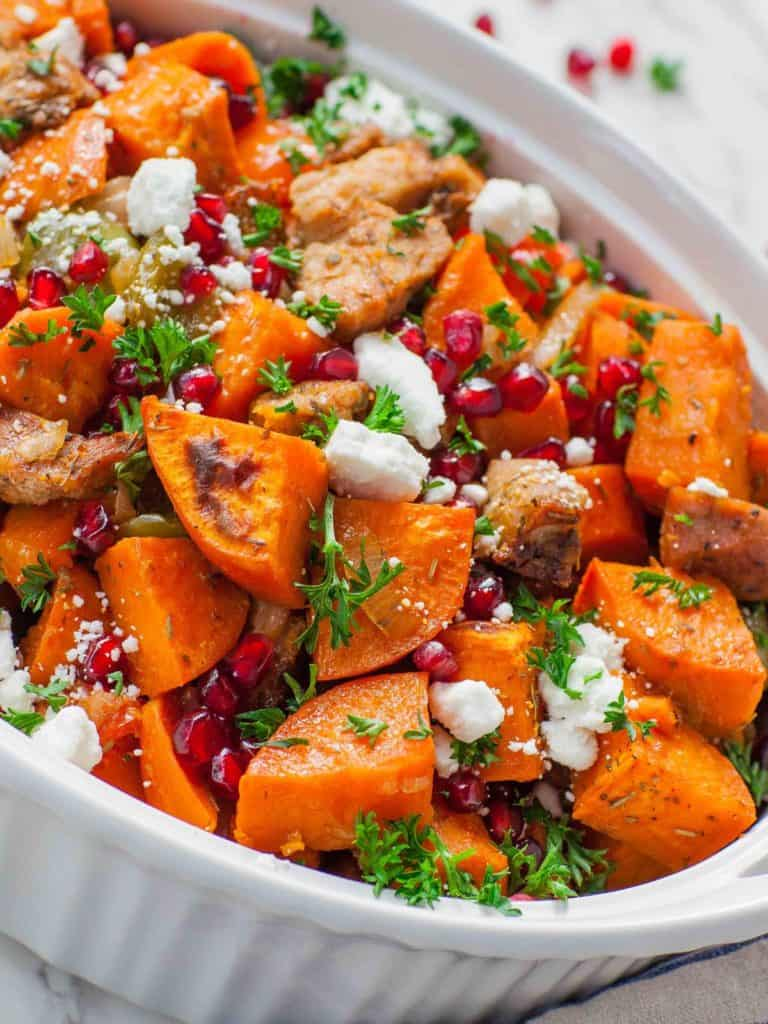 pork and sweet potato casserole with goat cheese and maple syrup