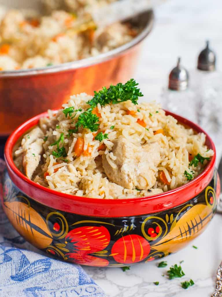 easy chicken rice with chicken breast, onions and carrots