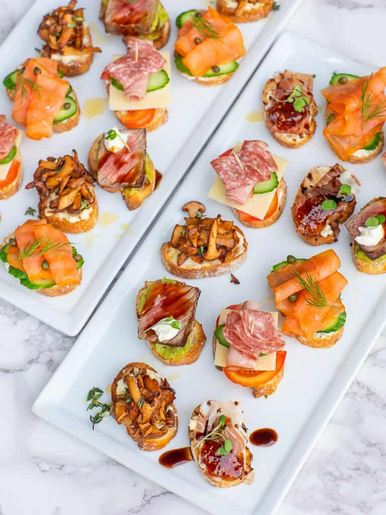 5 crostini and tea sandwich appetizers