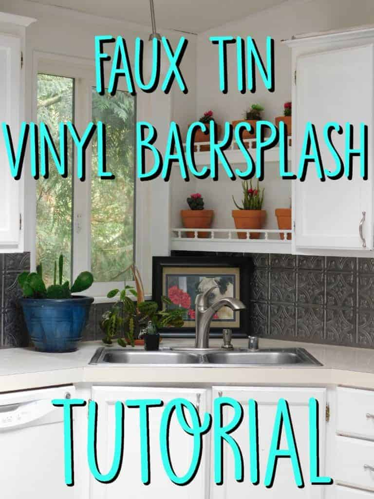 faux tin kitchen backsplash