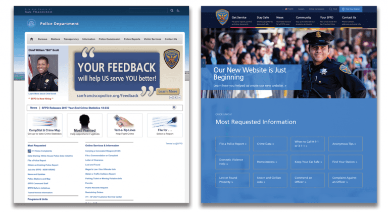 Side by side images of the SFPD home page both before and after the rebuild.