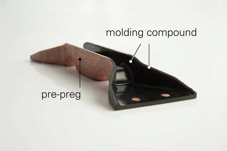 bracket showing prepreg and molding compound