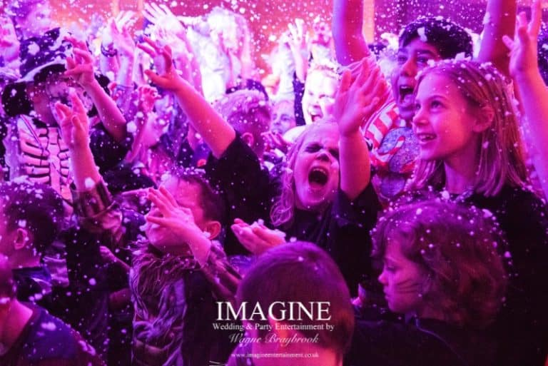 Snow at an Imagine Children's disco party in Ely, Cambridgeshire