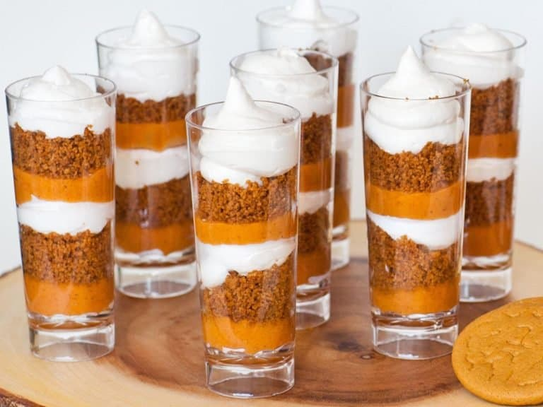 pumpkin pie parfait cups with gingersnap crumbs