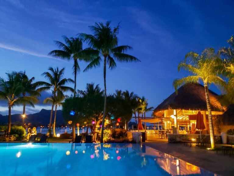 pool and Sands restaurant in the evening at Intercontinental Bora Bora