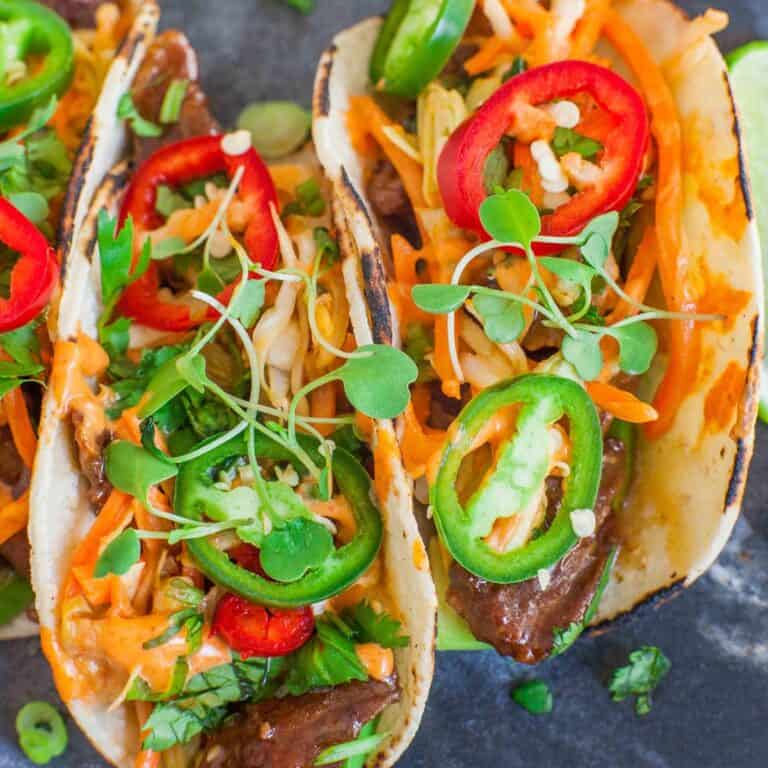 Korean Beef Tacos with kimchi slaw and peppers