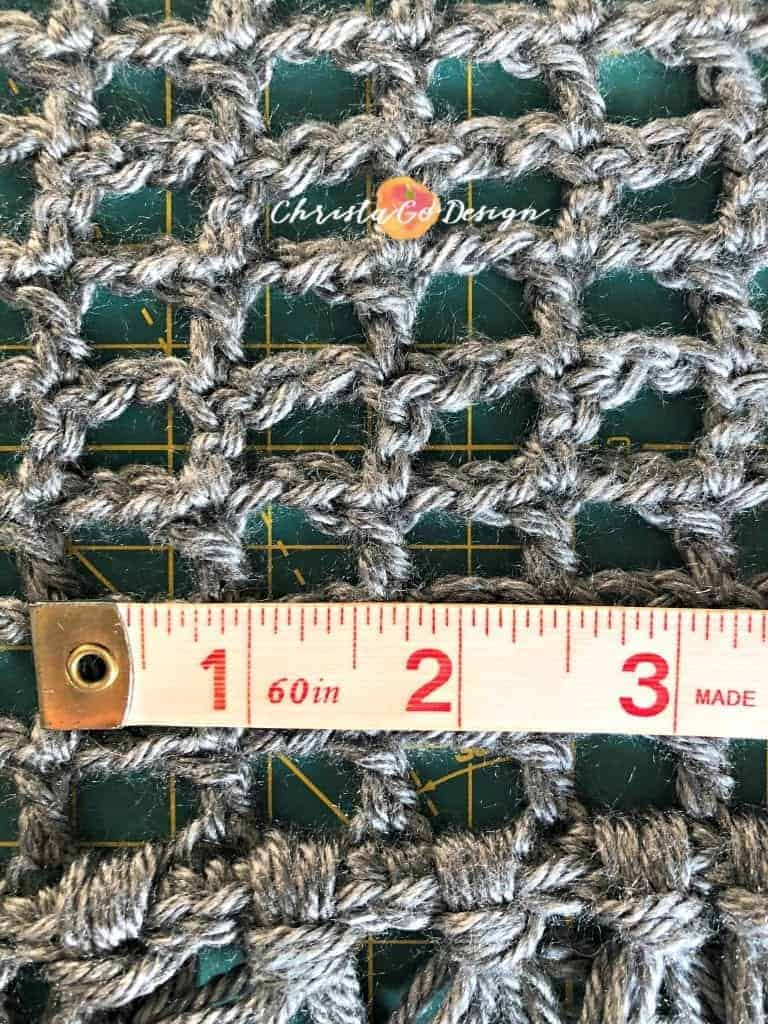 picture of mesh and tape measure stitch width