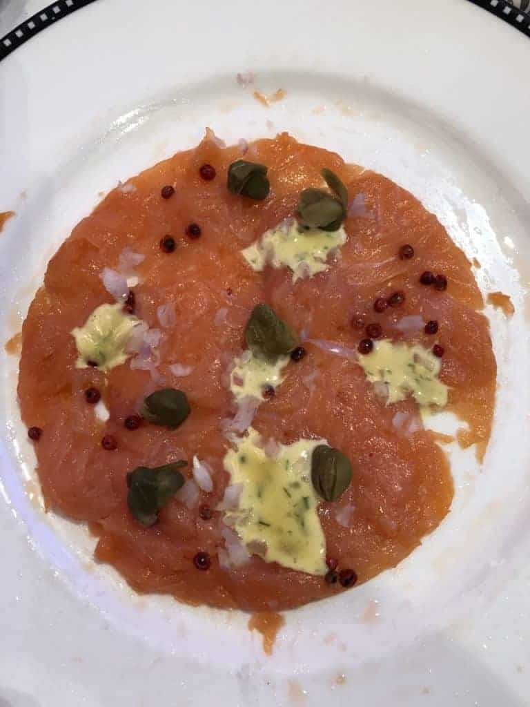 Smoked Salmon Carpaccio from the Let the Magic Begin Menu Disney Magic Transatlantic cruise