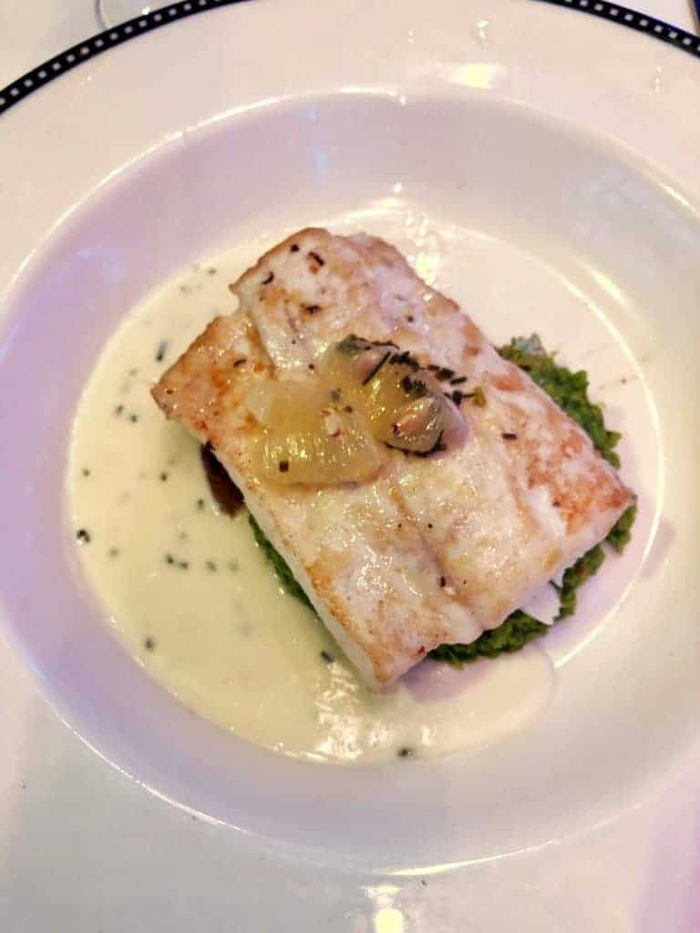 Pan Seared Halibut from the Let the Magic Begin Menu Disney Magic Transatlantic cruise