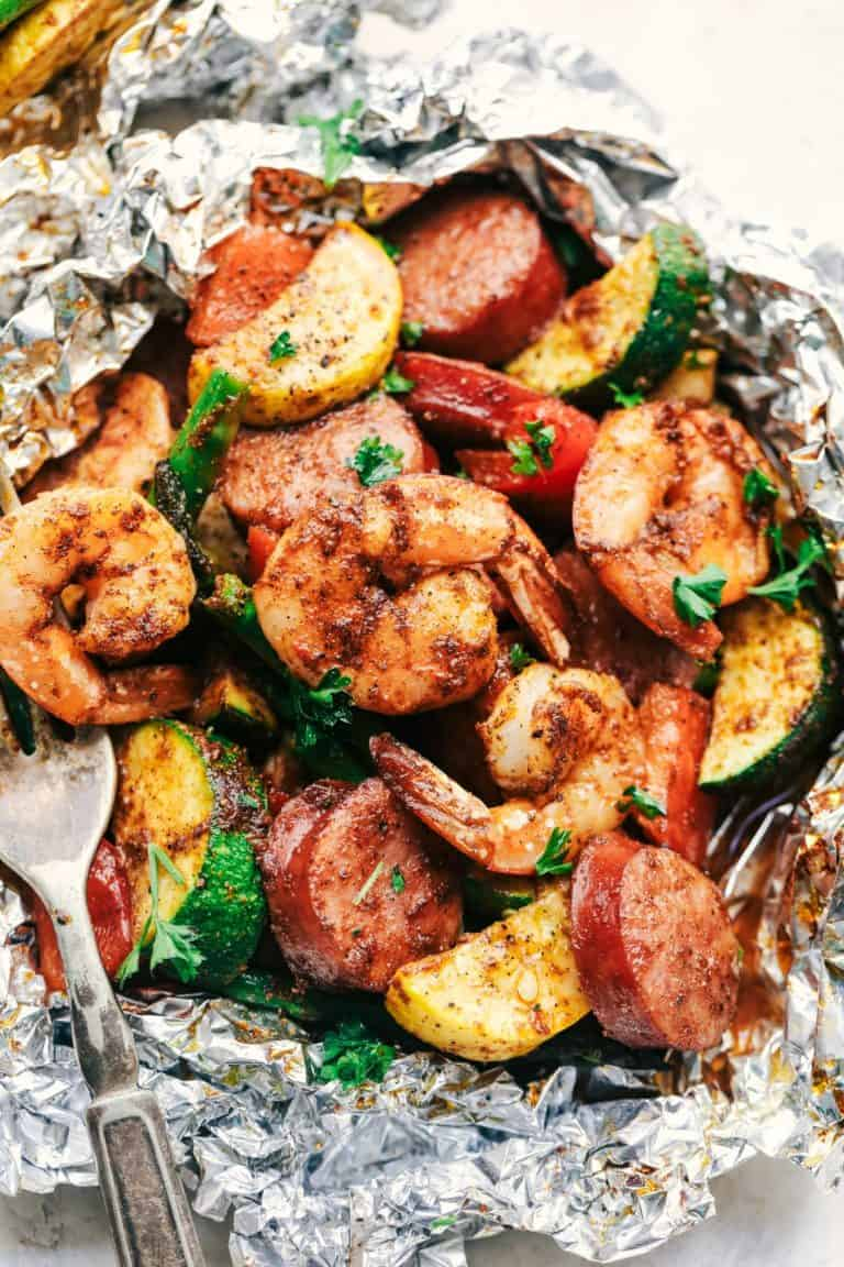 low carb cajun shrimp sausage and zucchini foil pack