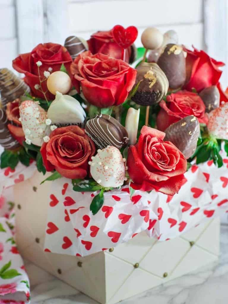 how to make an edible arrangement with roses and strawberries