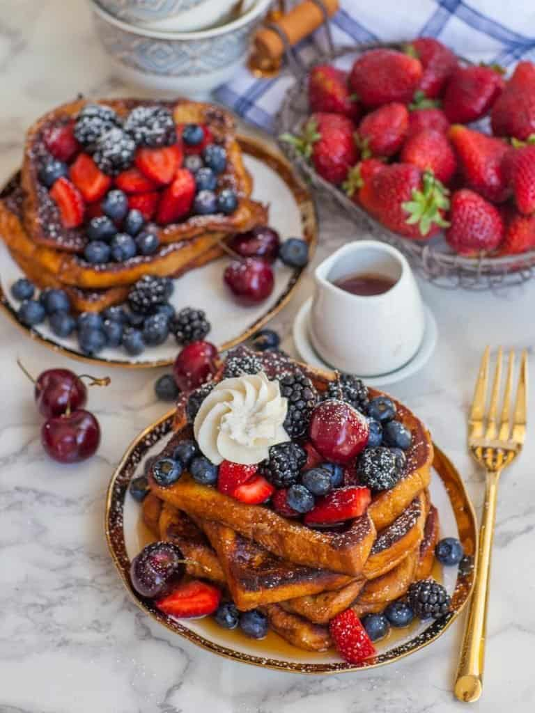 french toast breakfast recipe with brioche bread and maple syrup
