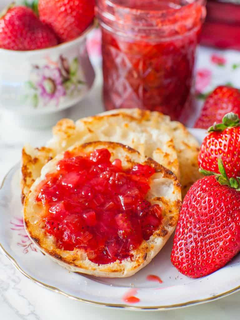 easy rhubarb strawberry jam on toasted english muffin