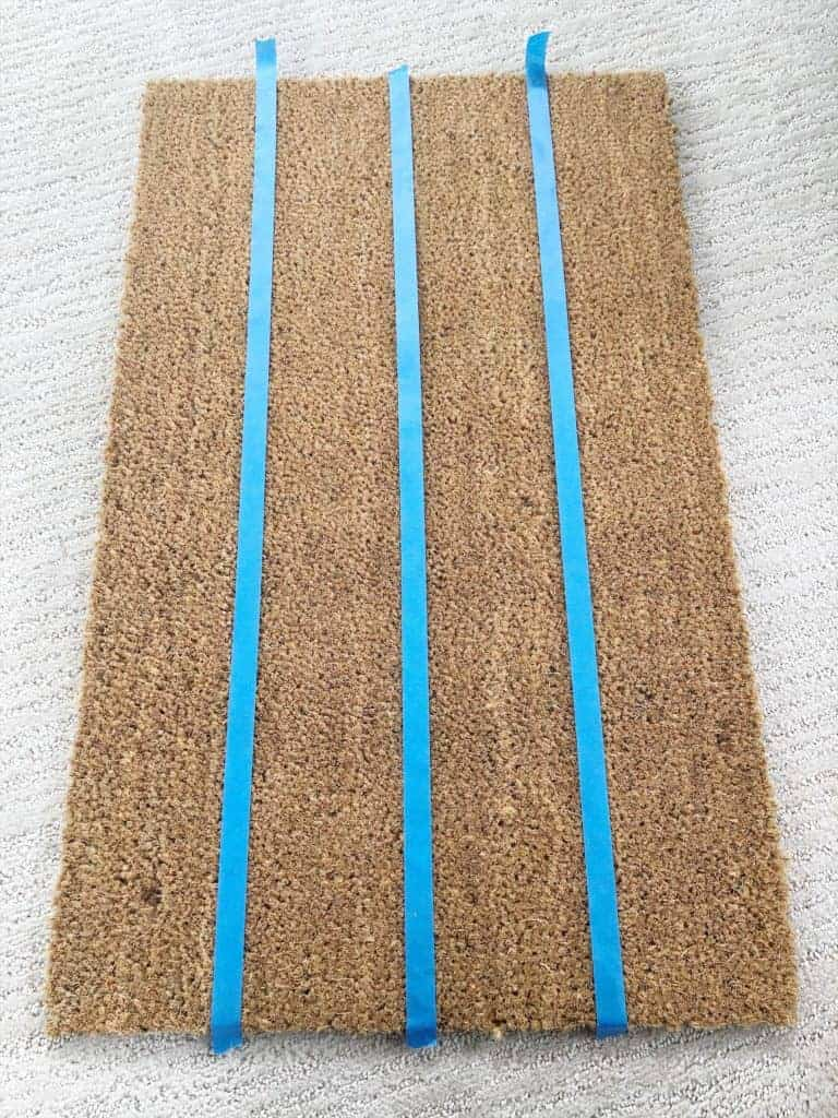 blue tape on doormat