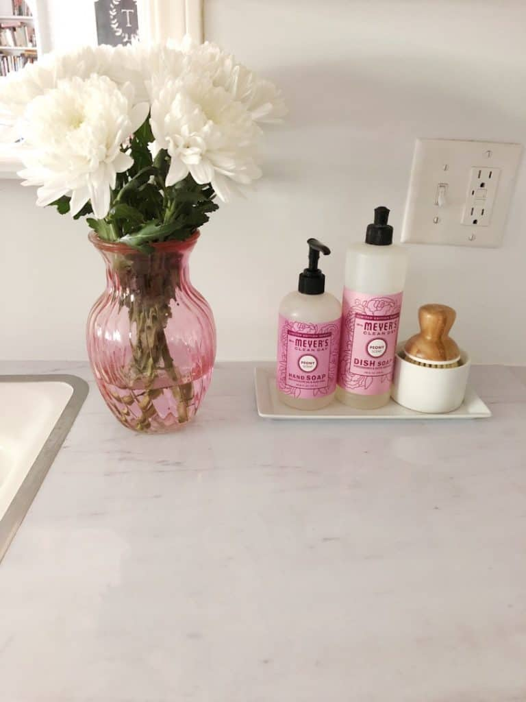 flowers on marble countertops