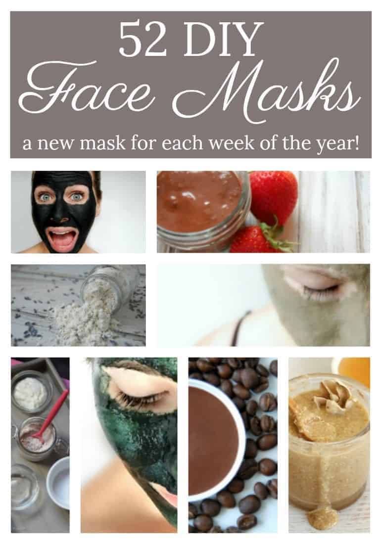 DIY face masks are incredibly easy to make and you likely already have the ingredients to make them! Here are 52 DIY face masks for you to make! That's one for each week of the year! #facemasks #naturalskincare #52diy #ayearof #greenbeauty #diy #natural