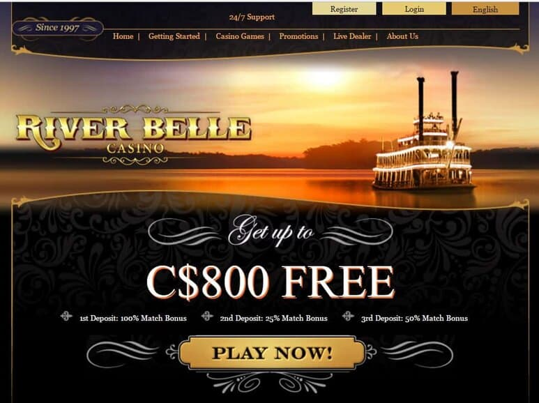 River Belle Online Casino - 30 no deposit free spins and 100% free bonus