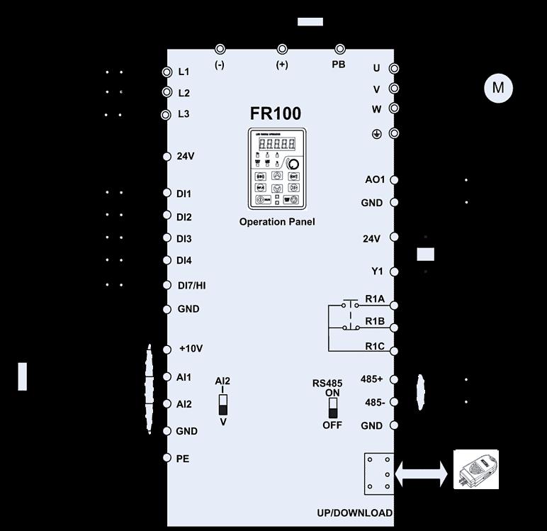 sơ đồ nối dây biến tần frecon fr100