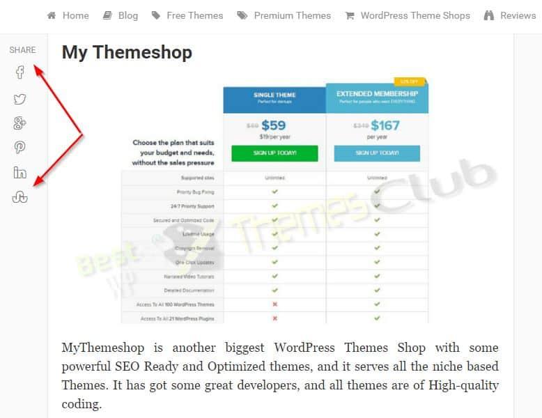 MyBlog WordPress Theme - Floating Social Sharing icons