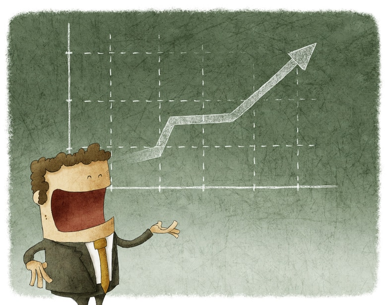 Illustration of businessman standing posture and graph finance