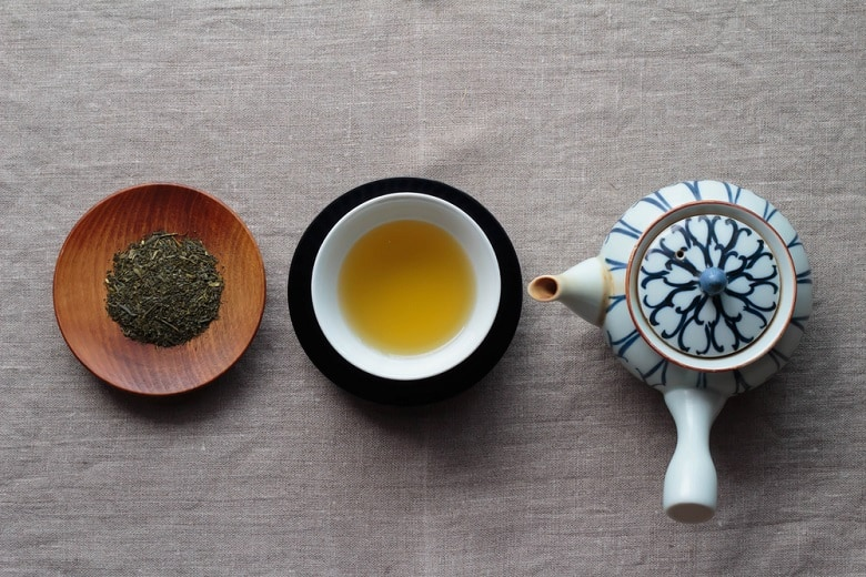 Japanese tea and the teapot and tea leaves